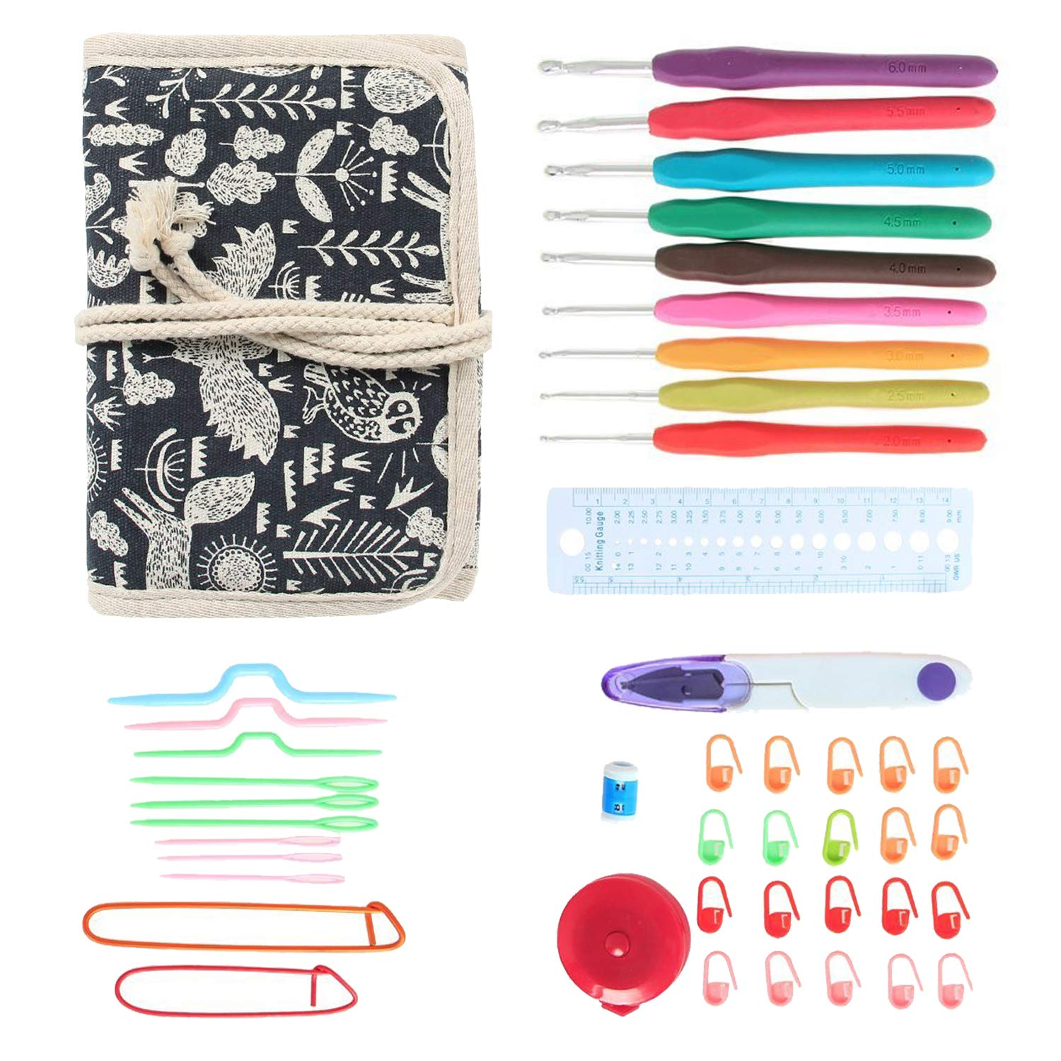 Damero Ergonomic Crochet Hooks Set, Travel Canvas Roll Organizer with 9pcs 2mm to 6mm Soft Grip Crochet Hooks and Complete Knitting Accessories, All in One, Easy to Carry, Bohemian Damai