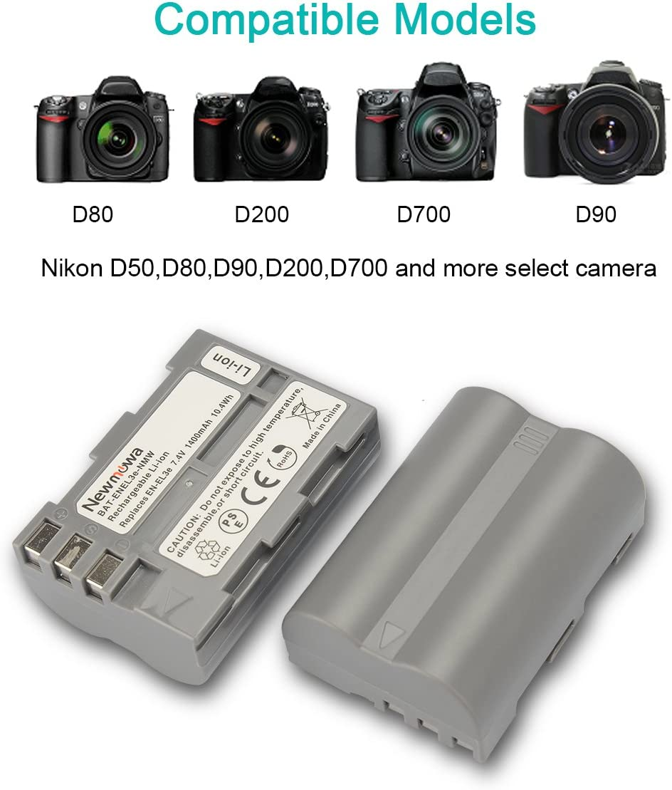 and Dual USB Charger for Nikon EN-EL3e and Nikon D50 D700 D300S D70s 2-Pack D100 D90 D80 D300 D200 D70 Newmowa EN-EL3e Replacement Battery