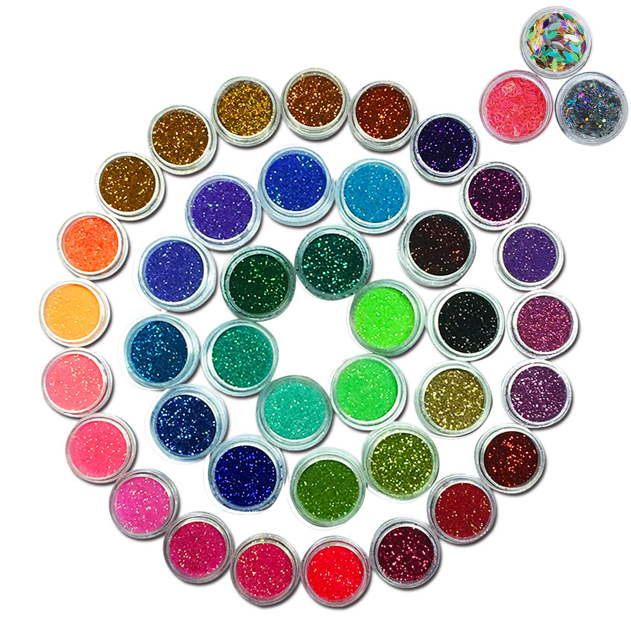 Lasten Nail Glitter, Colorful Mixed Sequins Glitter Manicure Art Crafts, 3D Mini Bottles Nail Art Set, DIY Art Decoration Set For Face Body Hair Nail Paint And Phone (48 bottles/set)