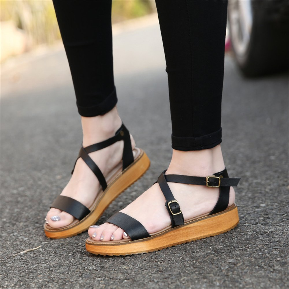 Believed Women Platform Sandals Leather Leather Leather Flat Sandals Low Wedges Summer Sandalias Ladies Gladiator Sandals B07F9KM8V8 37/6.5 B(M) US Women|Black 8c3df1