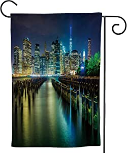 C COABALLA Pier pilings and The at Night,Welcome Garden Flag Double Sided Outdoor Decoration seen from Brookln Bridge Park 12.5''x18''