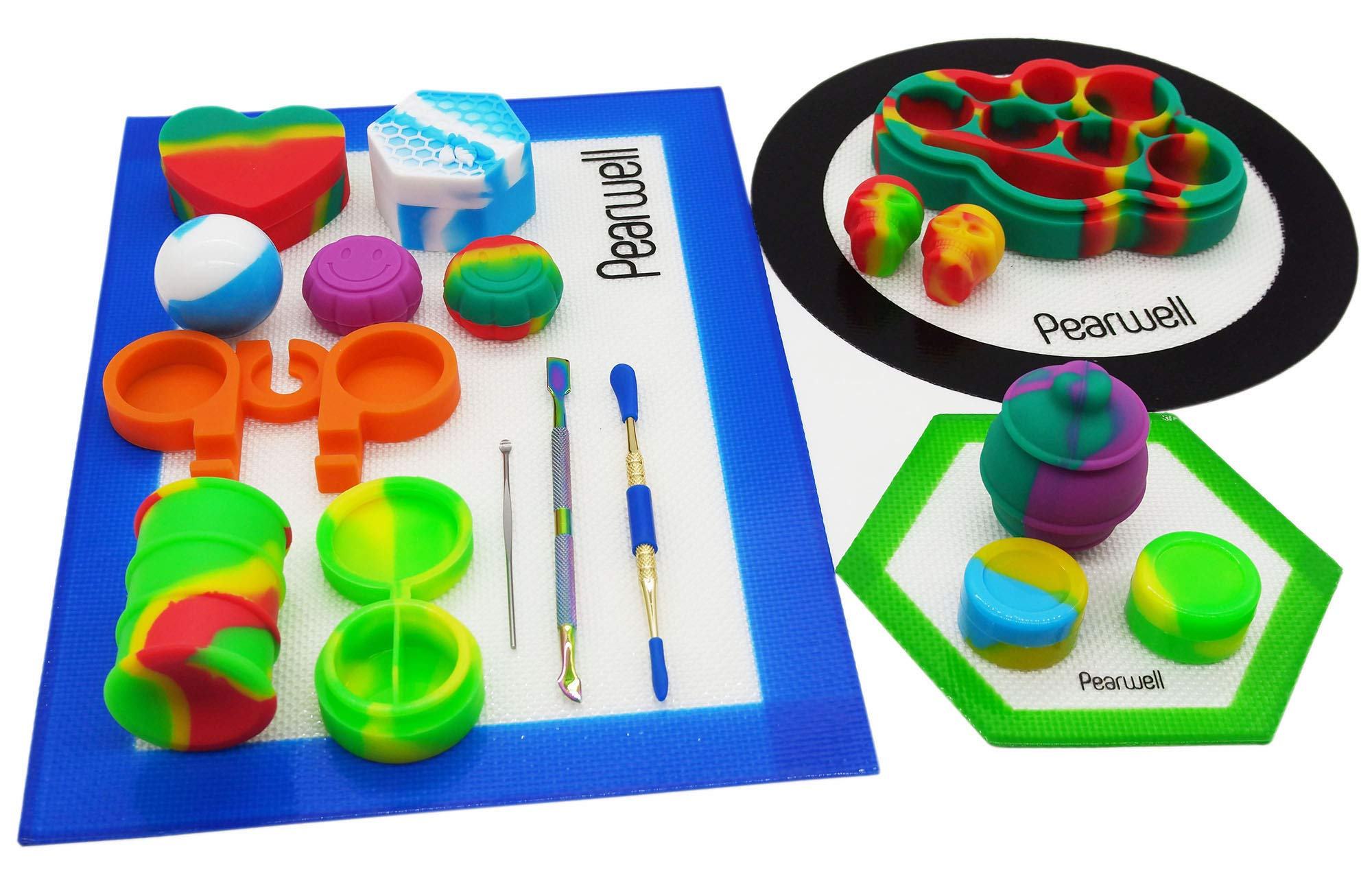Pearwell Silicone Wax Jar Kit (Set of 20), 1 Blue Rectangle Mat + 1 Black Round Mat + 1 Green Hexagon Mat + 3 Carving Tools + 13 Silicone Containers + 1 Silicone Holder (20)