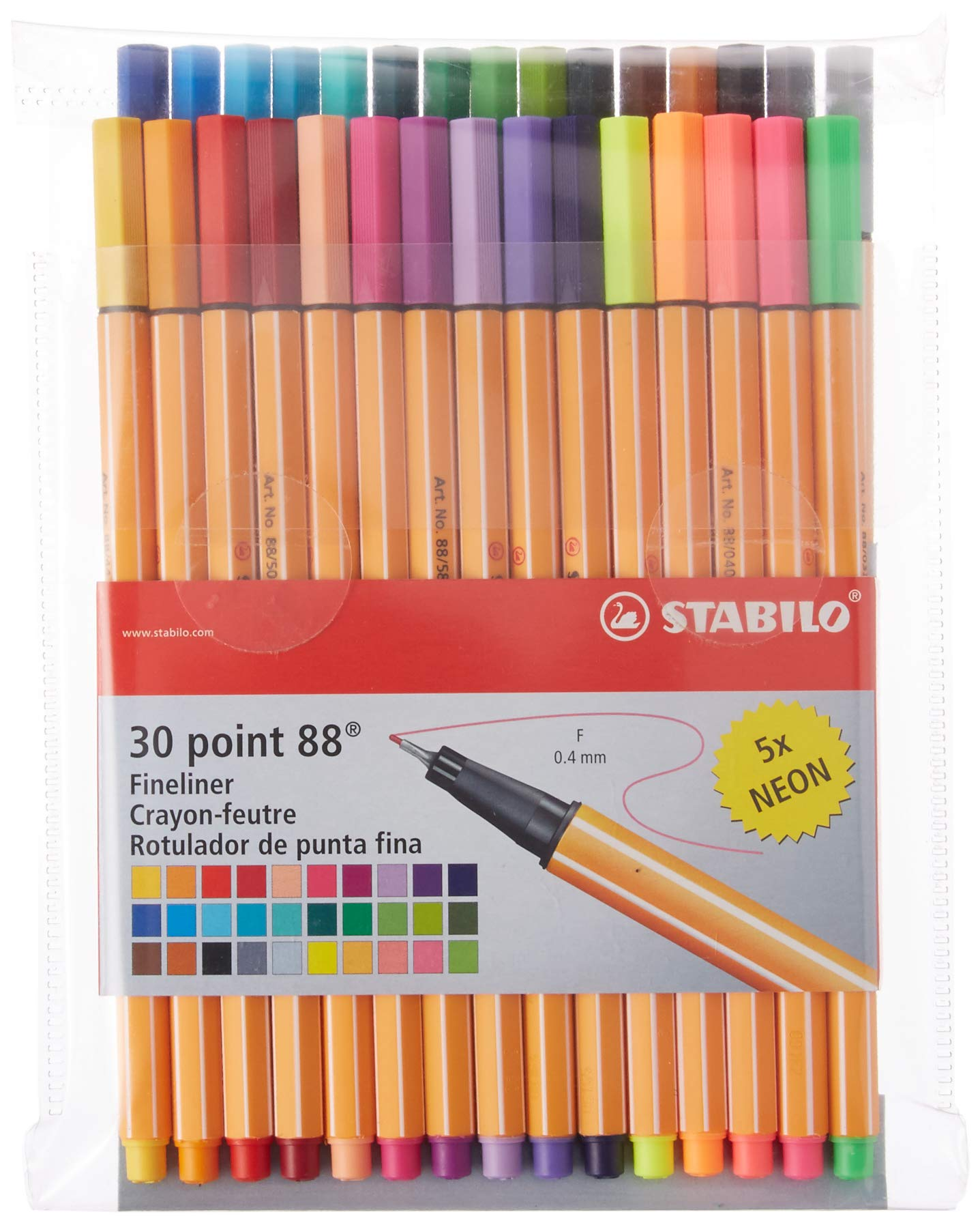 Stabilo Point 88 Fineliner Pens, 0.4 mm - 30-Color Set by STABILO