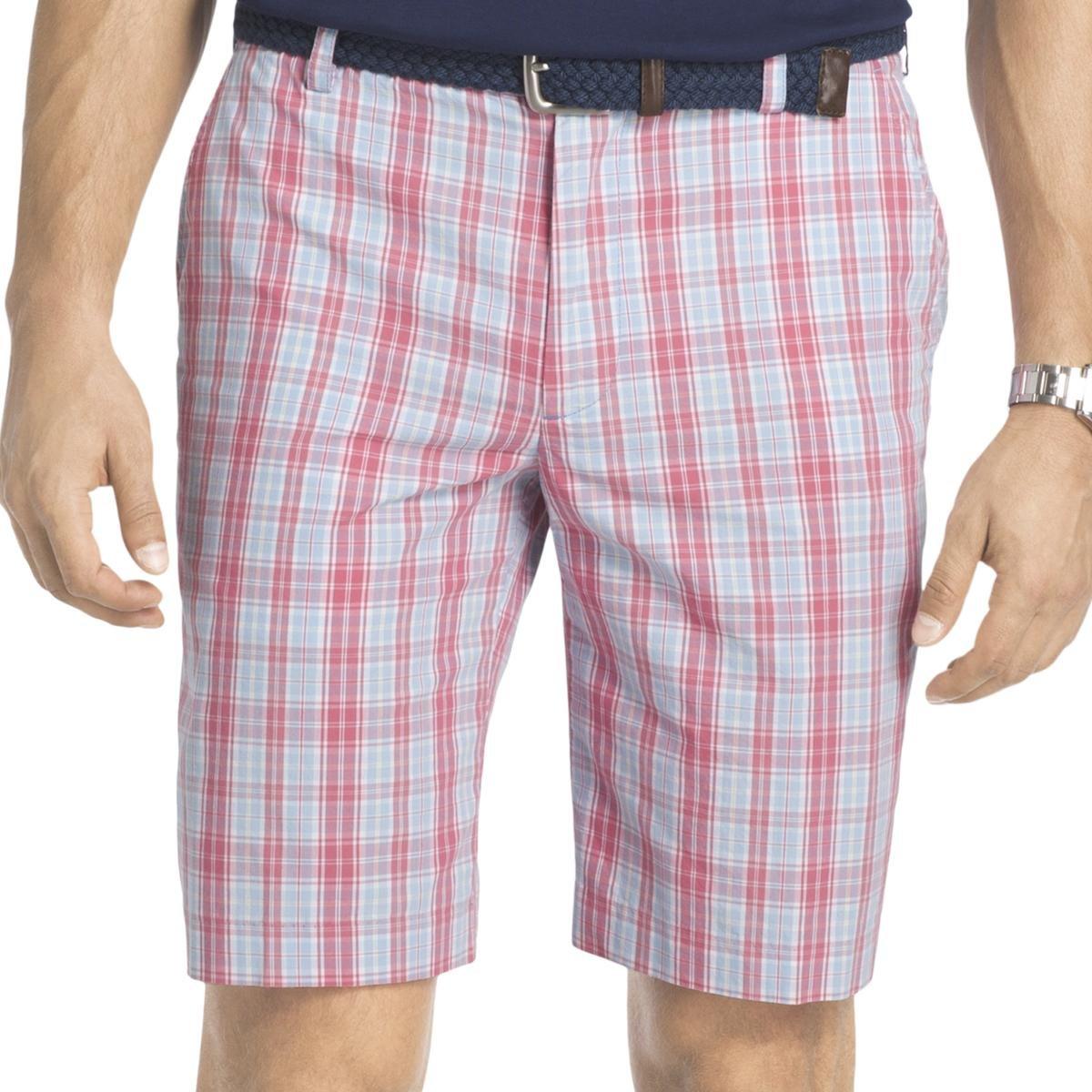 IZOD Mens Plaid Lightweight Casual Shorts Pink 30