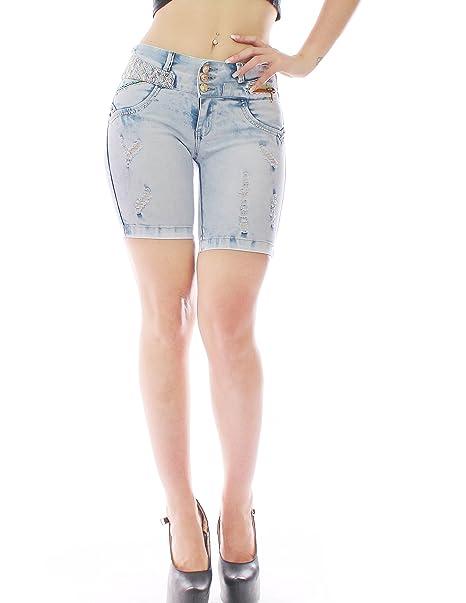 Pantalon vaquero de mujer,marca zarina,pantalon colombiano 1303,color azul con talla 34-48,XS-XXXL (XS, AZUL)