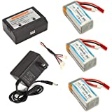 XHuan mjx x101 Lipo Battery 1200mAh 7.4V 30C 3pcs and 3in1 Cable with AC Balance Charger