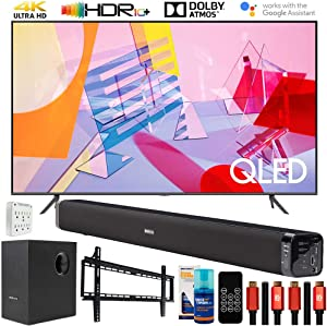 """Samsung QN65Q60TA 65"""" Q60T QLED 4K UHD HDR Smart TV (2020 Model) Bundle with Deco Gear Home Theater Soundbar with Subwoofer and Complete Wall Mount Setup and Accessory Kit"""