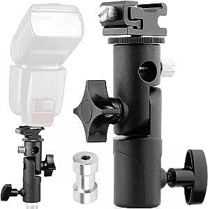 ZMKK Stand Bracket Flash Light Stand Bracket C Type with Screw Hole Black