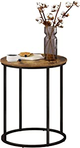Function HomeRound End Table, Modern Side Table, Sofa Beside Table for Bedroom Living Room in Rustic Brown