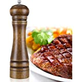 ZOYA Wood Pepper Mill, 8-inch High Salt and Pepper Grinder,Salt and Pepper Shakers