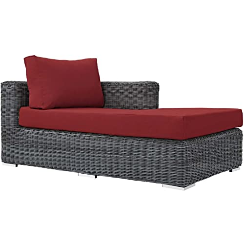 Modway EEI-1873-GRY-RED Summon Outdoor Patio Sunbrella Right Arm Chaise, Canvas Red
