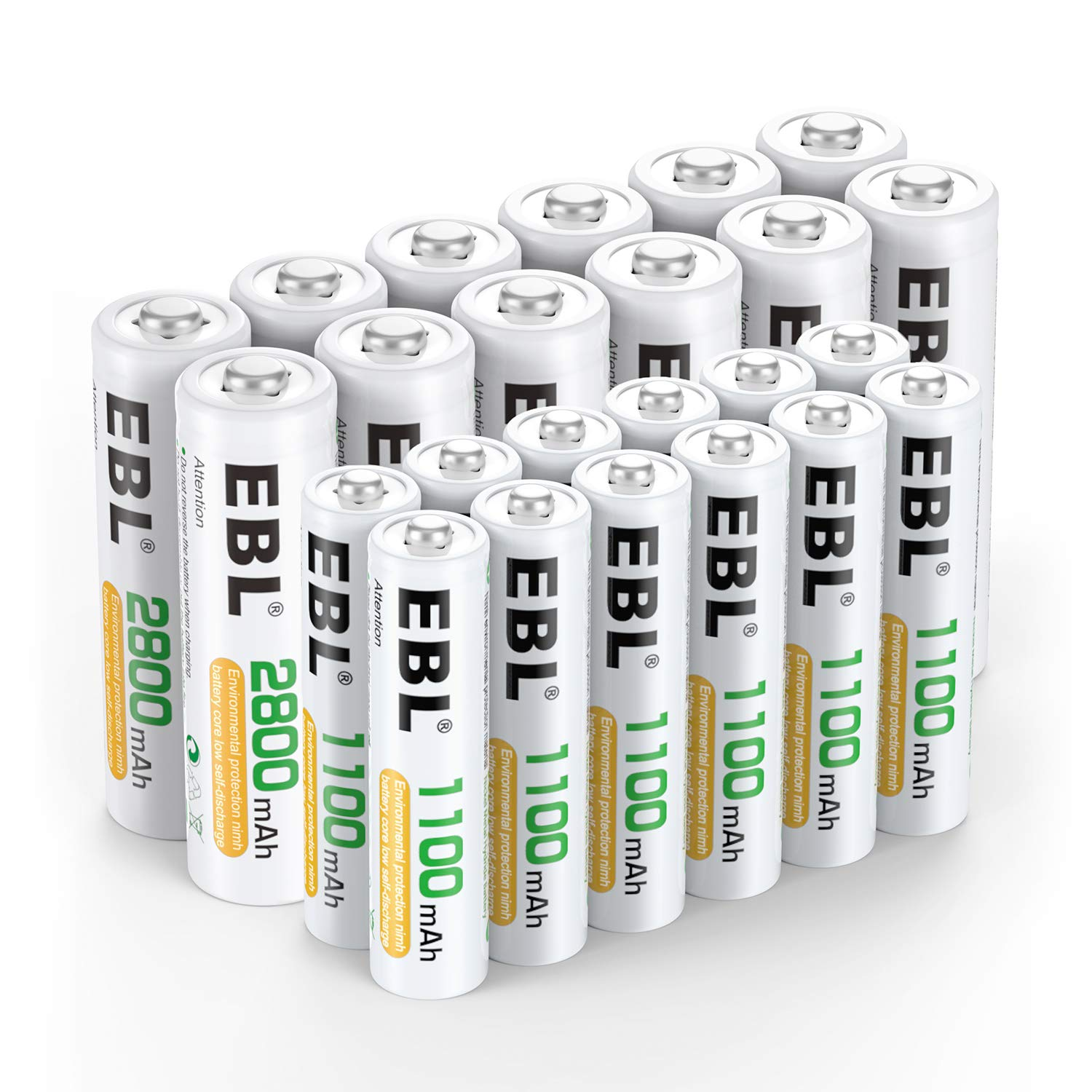 EBL 24 Sets Rechargeable Batteries (AA 2800mAh 12 Counts and AAA 1100mAh 12 Counts) by EBL