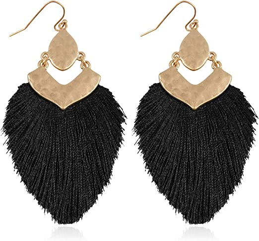 Bohemian Silky Thread Fan Fringe Tassel Statement Earrings - Lightweight Strand Feather Shape Dangles