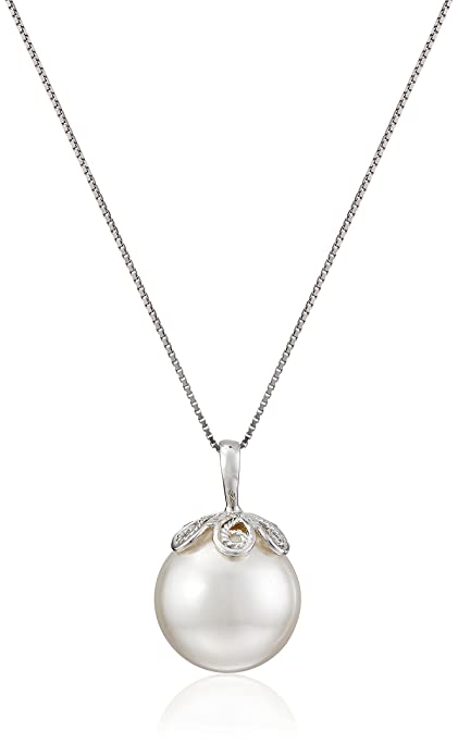 385000d84 Amazon.com: Sterling Silver and White Simulated Simulated Shell Pearl  Pendant Necklace (13 mm): Necklaces For Women: Jewelry