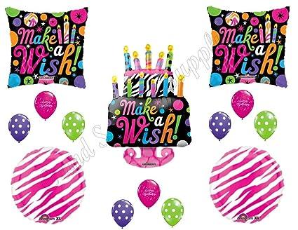 Amazon com: Pink Zebra Make A Wish Cake BIRTHDAY PARTY