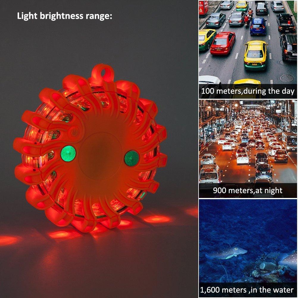 Feu stroboscopique de détresse à LED rechargeable à base magnétique pour accidents de la route, urgences et secours  Green Comaie