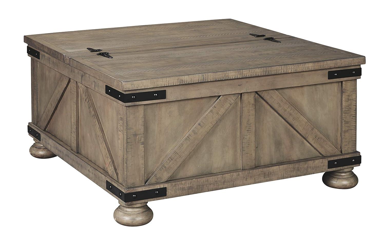 Aldwin Farmhouse Grey Storage Coffee Table with Pine Wood