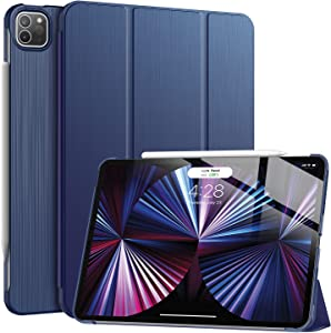 Soke New iPad Pro 11 Case 2021(3rd Generation) - [Slim Trifold Stand + 2nd Gen Apple Pencil Charging + Smart Auto Wake/Sleep],Premium Protective Hard PC Back Cover for iPad Pro 11 inch(Navy)