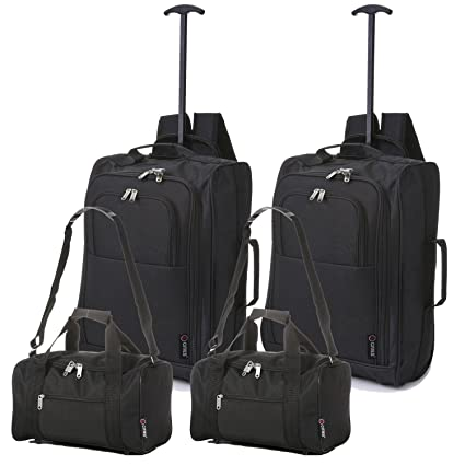 5 Cities Ryanair Cabin Luggage Carry On Trolley Bag Backpack and Duffle Bag  (2 x Black + 2 x Holdall)  Amazon.co.uk  Luggage 72c8fa8648