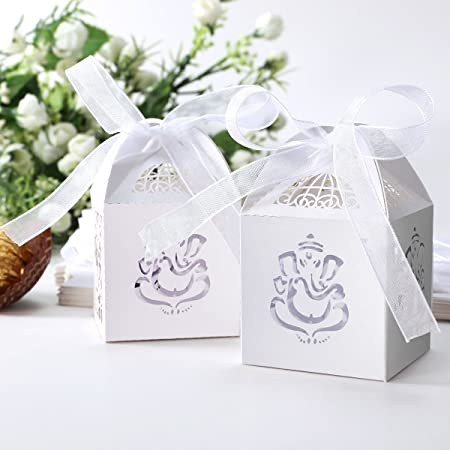 25 White Indian Asian Ganesh Favour Gift Boxes With Ribbon