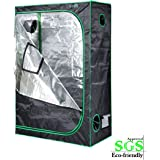 "Quictent SGS Approved Eco-friendly 48""x24""x72"" Reflective Mylar Hydroponic Grow Tent with Heavy Duty Anti-burst Zipper and waterproof Floor Tray for Indoor Plant Growing 4'x2'"