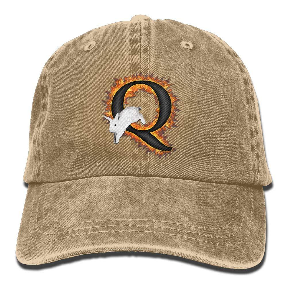 Q White Rabbit AwarenessWashedBaseball Cap Adult Unisex Adjustable Cap