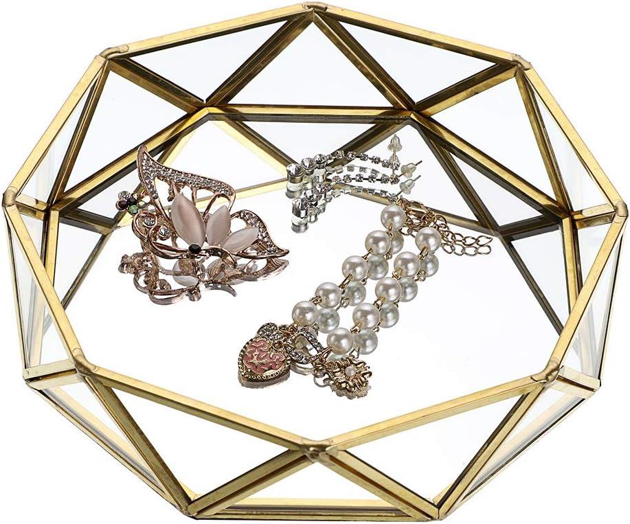 Hipiwe Mirrored Glass Make up Tray - Geometric Jewelry Organizer Tray Ornate Bathroom Vanity Tray Dresser Perfume Tray Home Decor Decorative Tray (Gold)