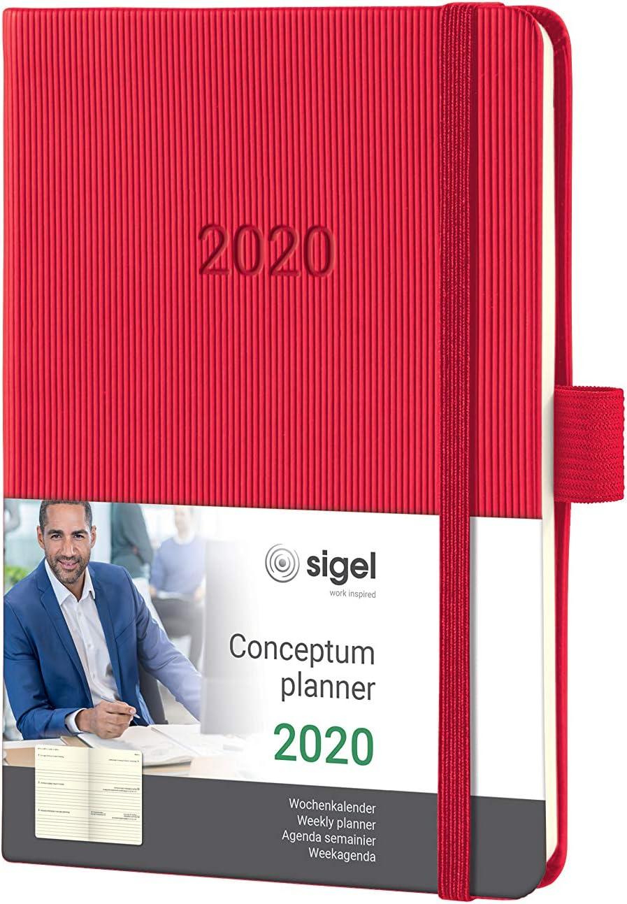 5 cm Noir Sigel C1918 Conceptum Agenda semainier 2019 vertical couverture rigide 22 5 x 31