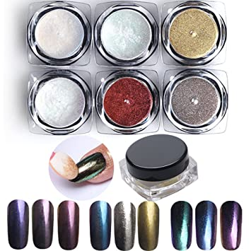 Phantomsky 6 Color Nail Glitter Shining Mirror Chrome Nail Powder Manicure Pigment 2