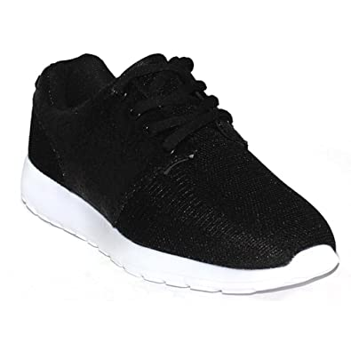 ab1d3bc8bc8 Womens Ladies Lace Up Glitter Sparkly and Mesh Trainers Sneakers Gym Pumps  Fitness Size  Amazon.co.uk  Shoes   Bags