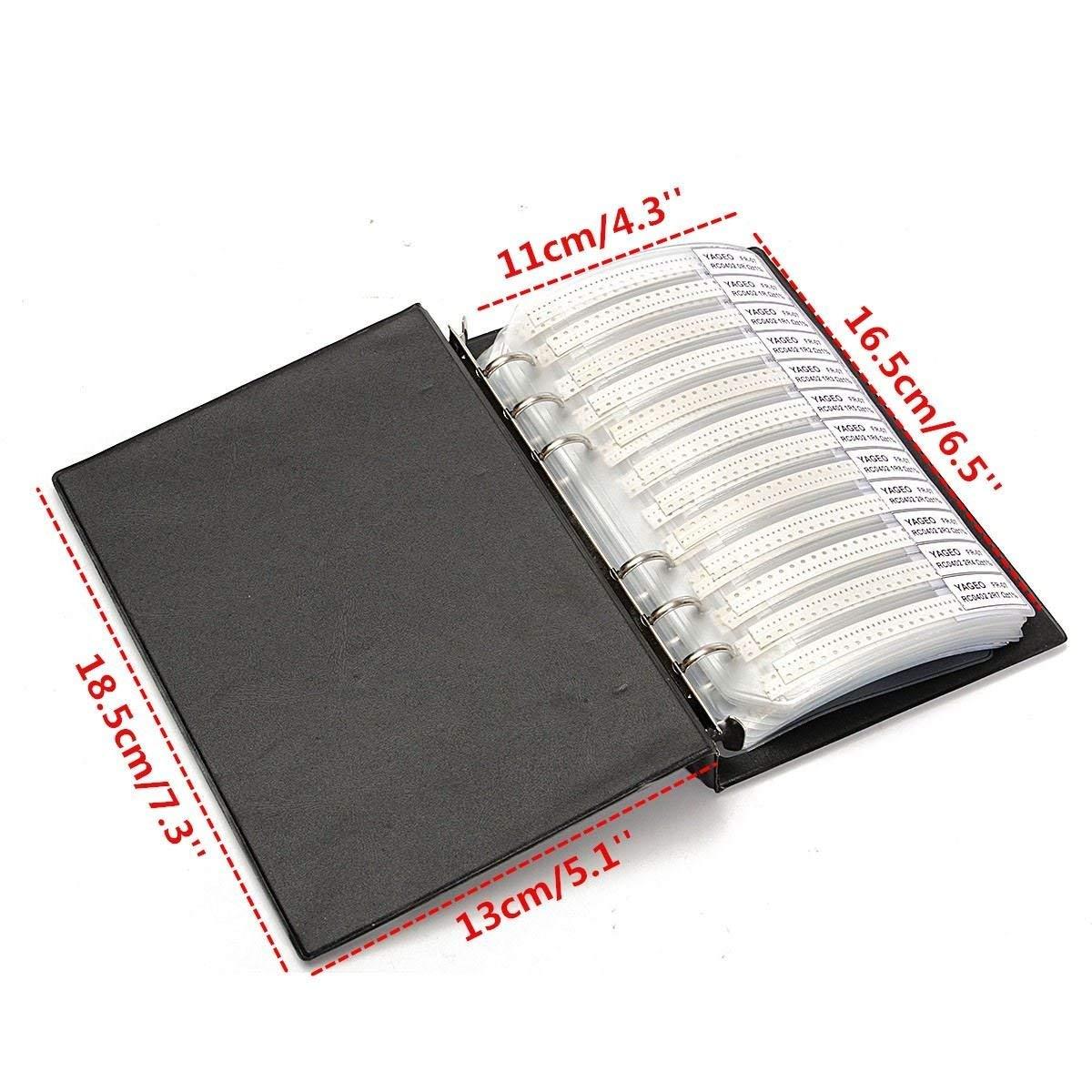 Sellify 1 PCS Noir 0402 Book Sample 1/% SMD SMT Chip Resistor 170Valuesx50pcs = 8500pcs