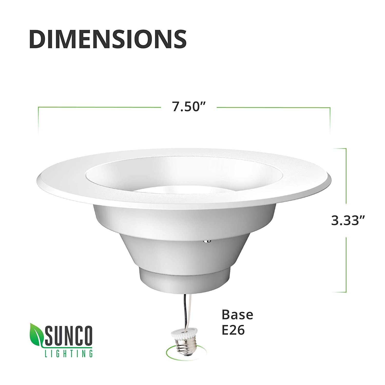13W=75W Dimmable UL Simple Retrofit Installation 830 LM Damp Rated 4000K Cool White Sunco Lighting 5//6 Inch LED Recessed Downlight Energy Star CECOMINOD066400 Smooth Trim