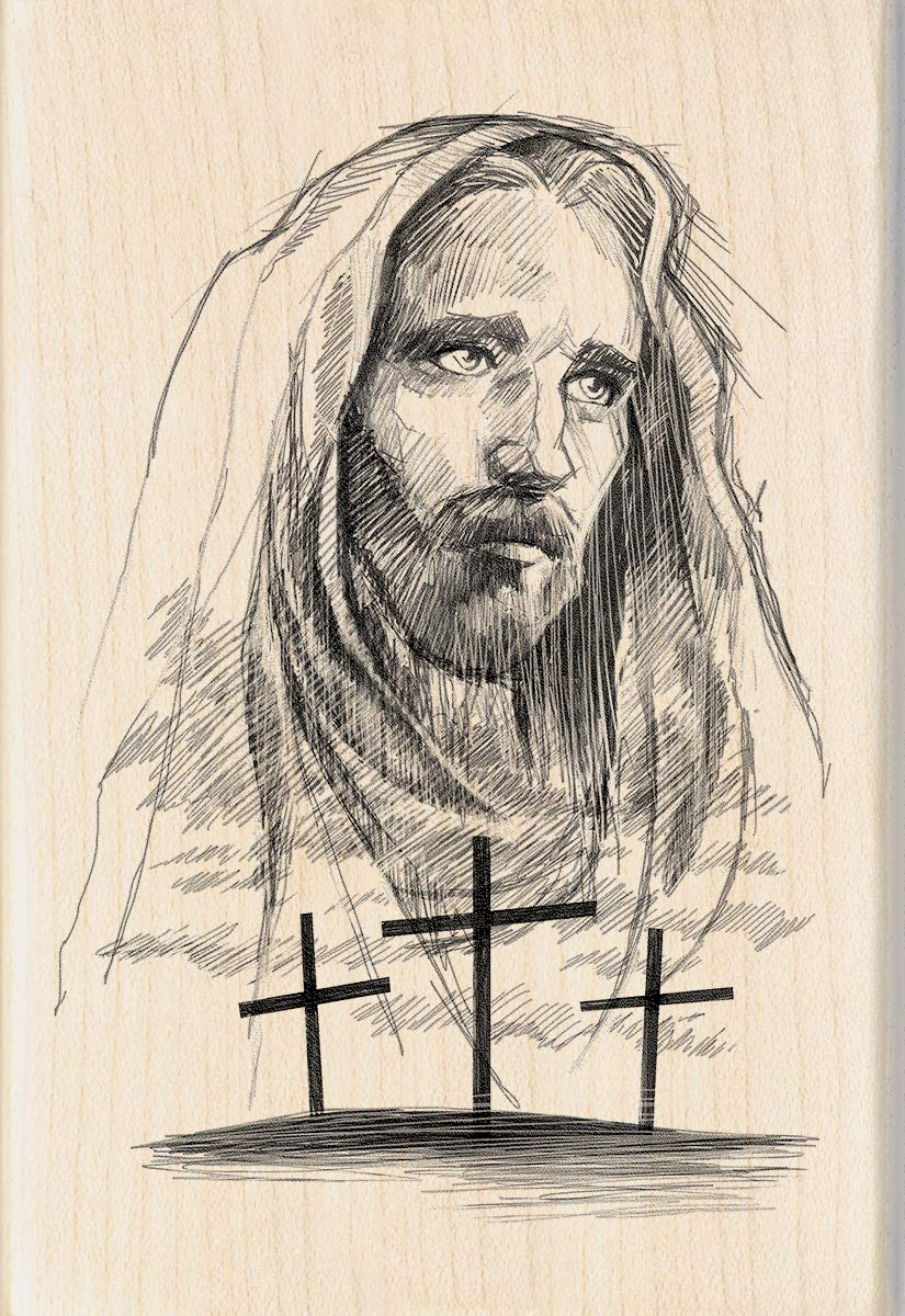 Amazon com inkadinkado jesus cross wood religious mounted rubber stamp for card making and scrapbooking 1pc 4 02l x 2 77w arts crafts sewing