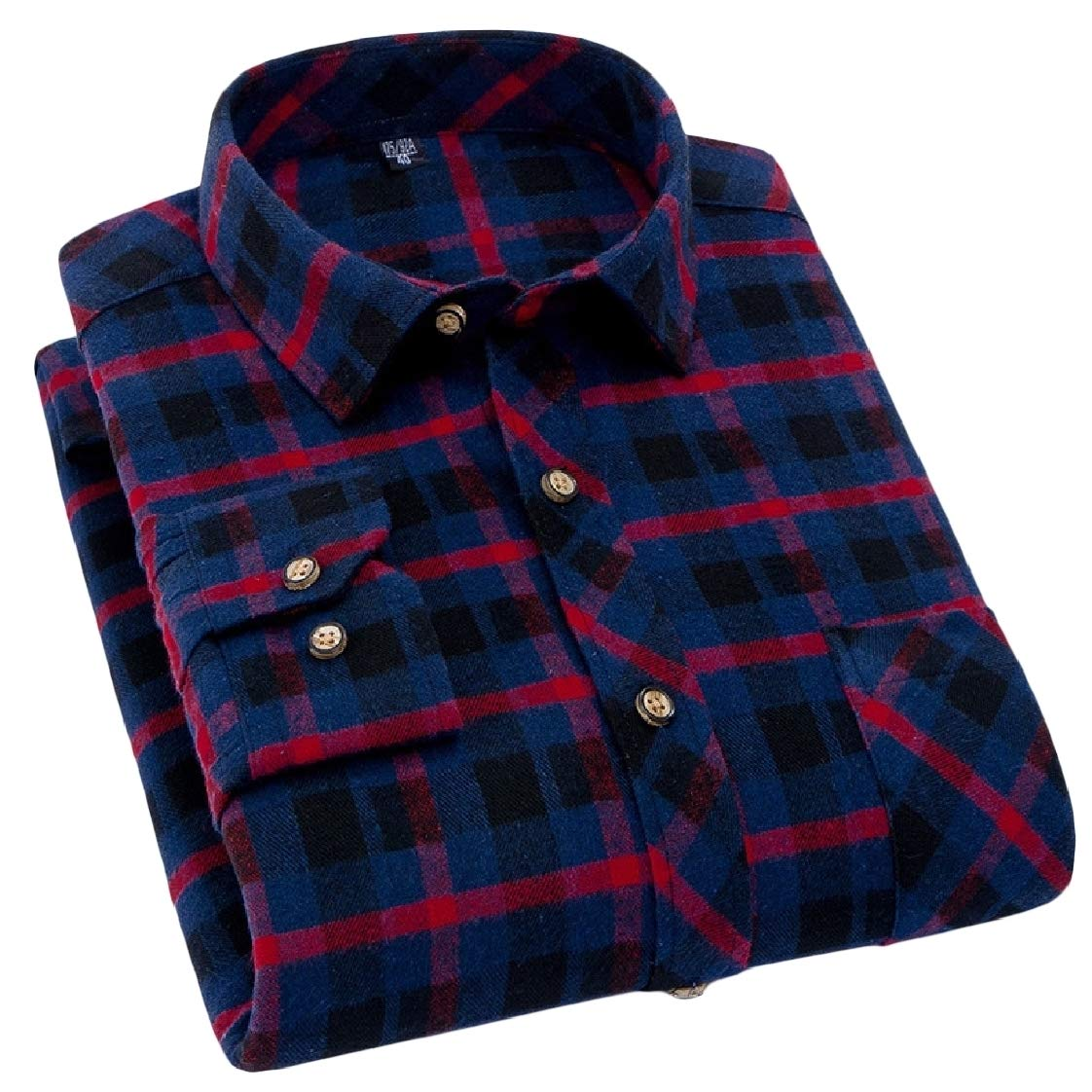 Pandapang Mens Button-Down Fashion Long Sleeve Plaid Lapel Shirt