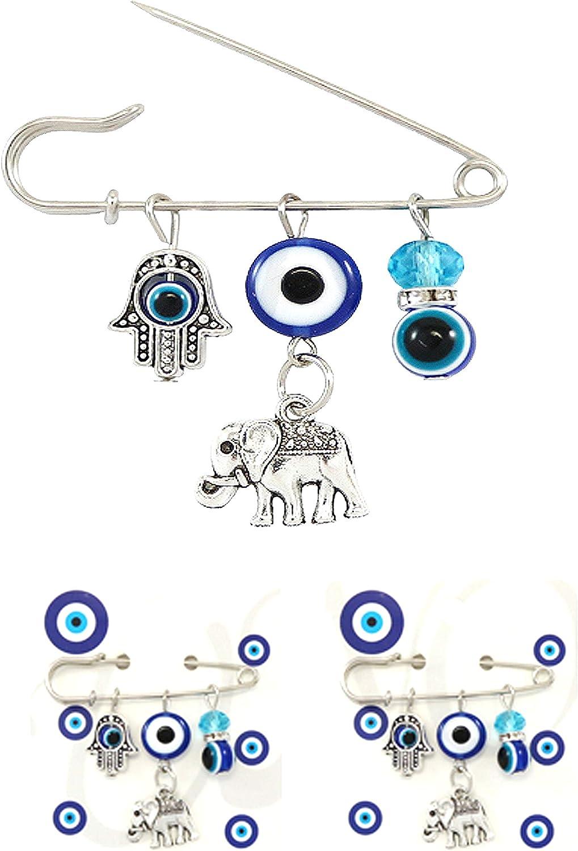 My Love My Saint 3PCS Good Luck Blue Evil Eye Hamsa Pin Set Protection Brooch for Baby Girls Pin