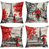 EZVING Merry Christmas Tree Socks Jingle Bells Cotton Linen Decorative Throw Pillow Cover Cushion Case for Sofa Couch…