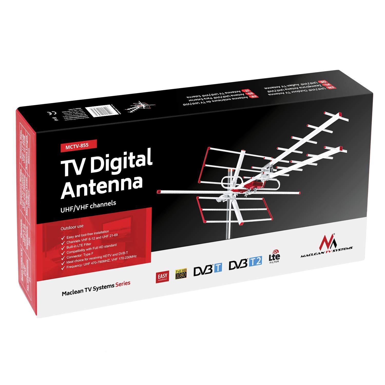 Passive Maclean MCTV-855 antenna esterna TV antenna tetto DVB-T DVB-T2 Full HD max 100dB/μV UHF//VHF LTE Filtro