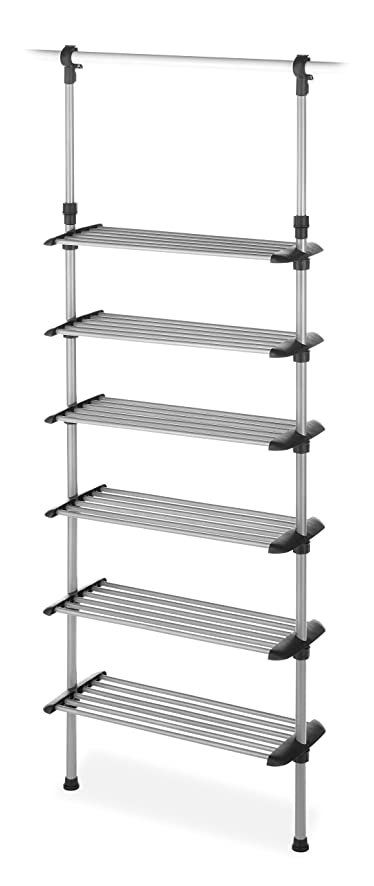 Charming Whitmor Adjustable 6 Shelf Closet System Silver / Black