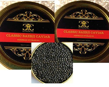 2 x 30 gr  Baerii Classic Caviar (Siberian Sturgeon)  Free 1