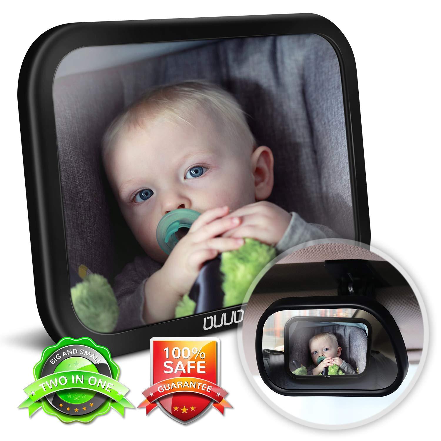 Baby Car Mirror,2 in 1 Car Seat Mirror for Rear Facing Infant with 360°Adjustable Crystal Clear View, Crash Tested and Certified for Safety by OUUO