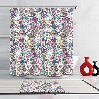 Shower Curtain Sets Bathroom Mat Waterproof Fabric Symbols Of Hippie Love Peace