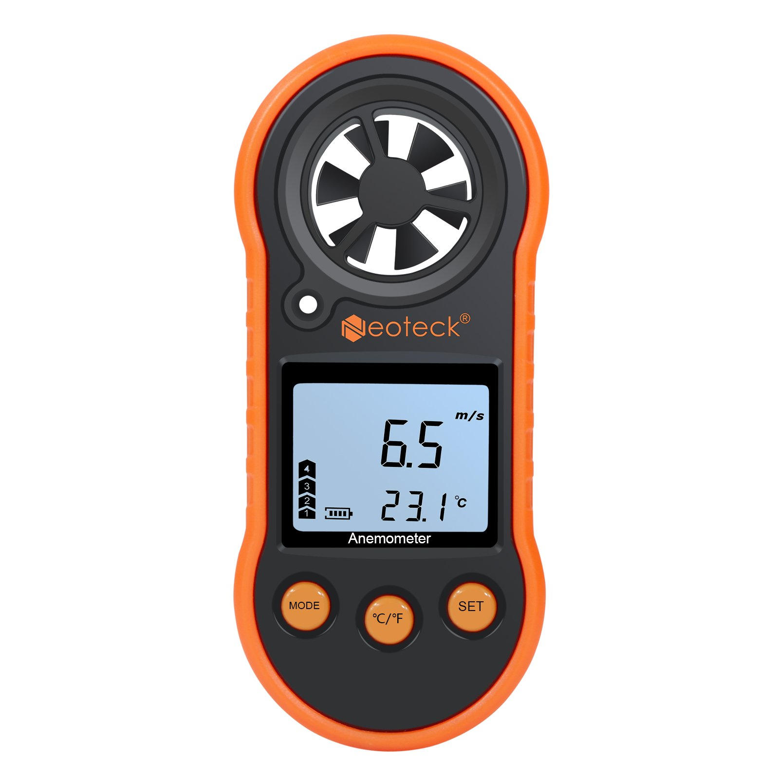 Digital Wind Speed Gauge Neoteck Handheld Anemometer Air Flow Velocity Meter Measuring Wind Speed Temperature with LCD Backlight for Windsurfing Kite Flying Sailing Surfing Fishing by Neoteck (Image #1)