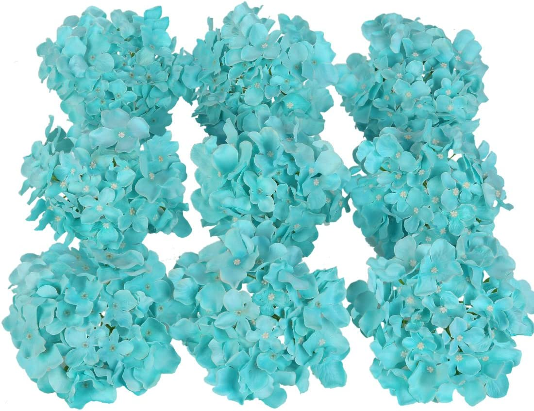 Luyue Silk Hydrangea Heads Artificial Decoration Flowers Garden Floral Decor,Pack of 10 (Lake Blue)
