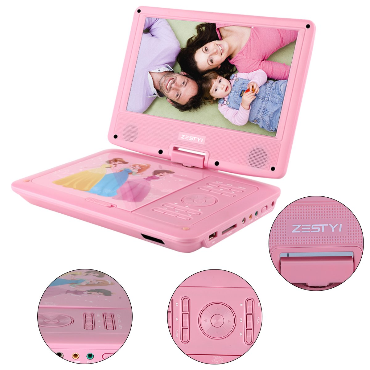 ZESTYI 9'' Portable DVD Player for Kids with Car Headrest Mount Holder, Rechargeable Battery, Wall Charger, Car Charger, SD Card Slot, USB Port & Swivel Screen (Pink)