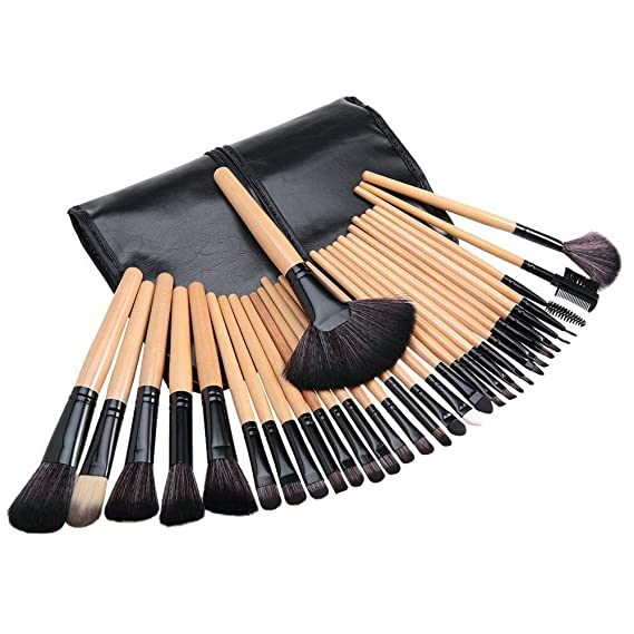 Tribecca 24pcs Makeup Brush Set, 24 Professional Makeup Brushes Kit Wooden Handle With Leather Pouch (Black): Amazon.in: Beauty
