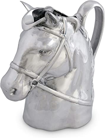 Ice Tea and Juice Beverage 8.5 Inch Tall Vagabond House Pewter Horse Head Equestrian Handle Glass Pitcher Water Jug for Hot//Cold Water