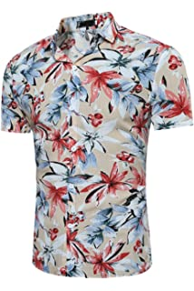 Zonsaoja Hombres Camisas Hawaianas Holiday Palm Tree Tops Casual Beach