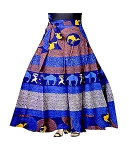 Mudrika Women's Cotton Jaipuri Rajasthani Full Long Skirt (SK_5306, Multicolour, Free Size)