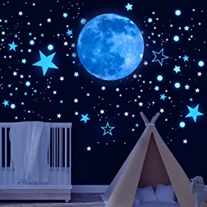 QUACOWW 1149 Pieces Glow in The Dark Stars for Ceiling, Luminous Star Sticker Decorations, Colorful Glow in The Dark Stars for Kids Bedroom Wall Decor(Sky Blue)