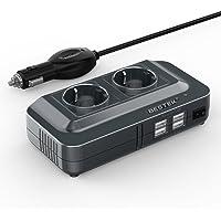 BESTEK Inversor de Corriente 200W, Transformador 12V a 220V con 4 Salidas USB, 2 AC Tomas Y Encendedor, Convertidor Onda…